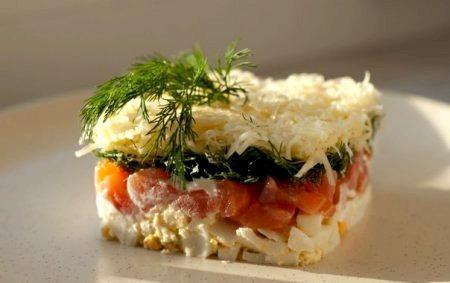 Фото салатов из семги